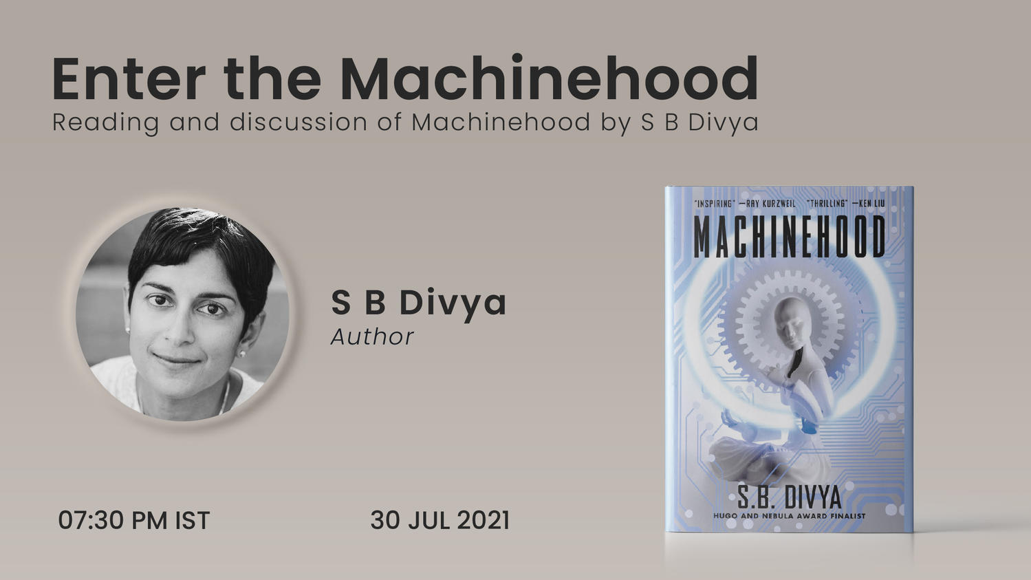 Enter the Machinehood - reading and discussion of Machinehood by S B Divya